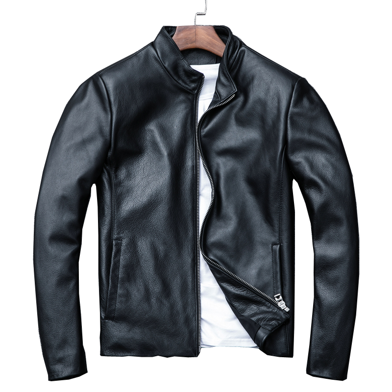 Coat Cowhide Jackets.cool Thick Casual Warm Man Slim Handsome Sale