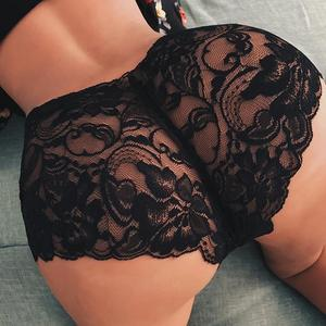 WENYUJH Women Sexy Lingerie Lace Underwear Floral Lace Sexy Elastic Waist See Through Seamless Underwear Panties White Black