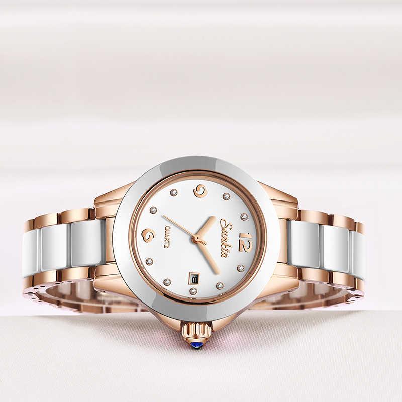 Sunkta2019 relógio dourado rosé feminino, ultrafino para mulheres senhoras assistir assistir