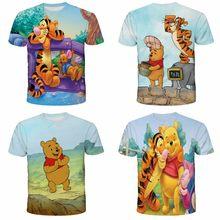 Disney Jongens T-shirt Winnie De Pooh Cartoon Karakter Zomer Kinderen 3D Gedrukt T-shirt Kids Favoriete T-shirt