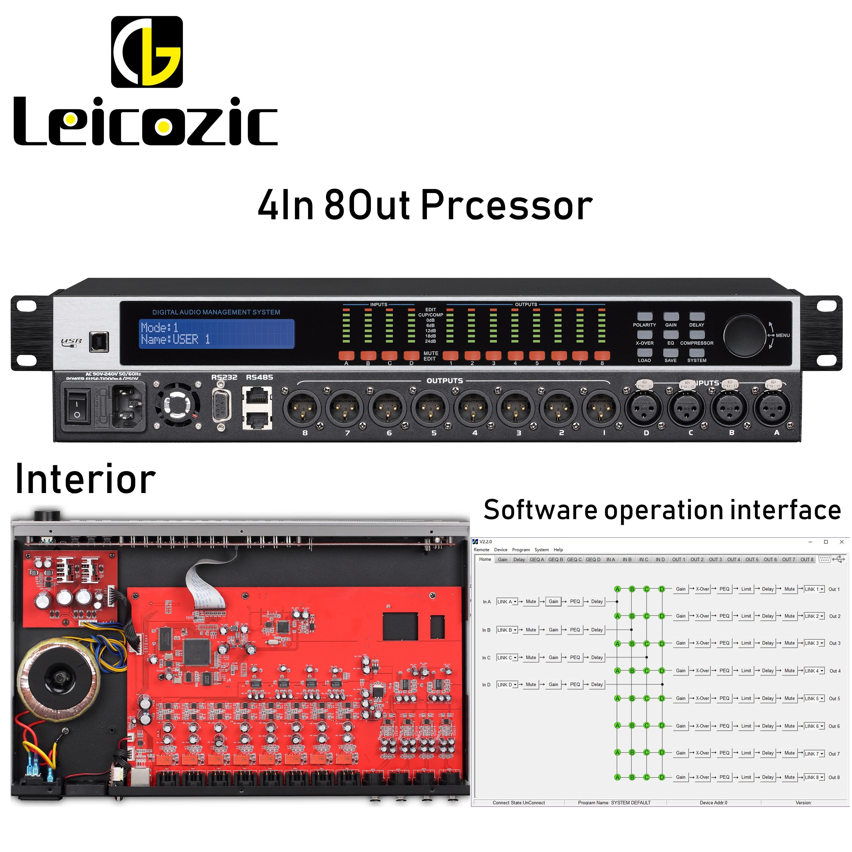 Leicozic DANT4.8 DSP Audio Processor 4in8out Loudspeaker Management Processador De Audio Digital Processors RS232 RS485 110/220V title=
