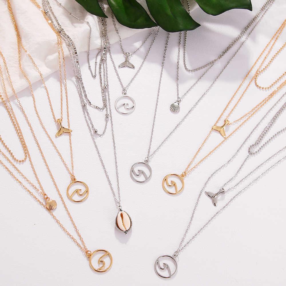FAMSHIN, Модный золотой серебряный кулон с волной, ожерелье s для женщин, бохо, винтажное многослойное колье, ожерелье, 2019, женская мода, ювелирное изделие