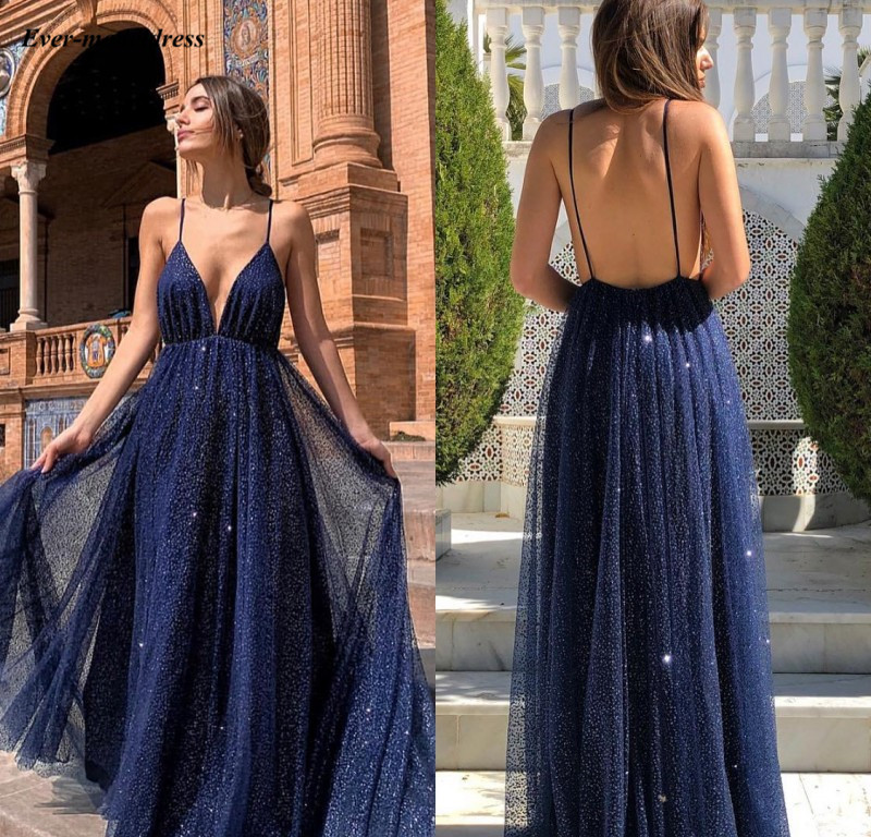 Sparkly Deep V-Neck 2019   Evening     Dresses   Sequins Sleeveless Backless A-Line Formal Arabic Dubai Prom Gowns vestido longo festa