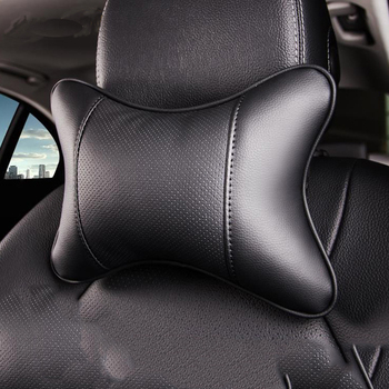 Toyoura car neck pillows both side pu leather single headrest universal easy install filled fiber universal image