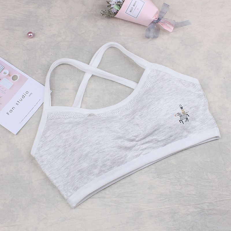 Students Girls Breathable Cotton Bra Underwear Cute Cartoon Wireless Brassiere
