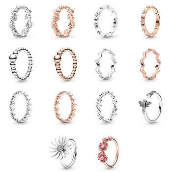 Silver Color Ring Charms Rose Gold Snowflake Dragonfly Round Flower Finger Ring For Women Party Jewelry