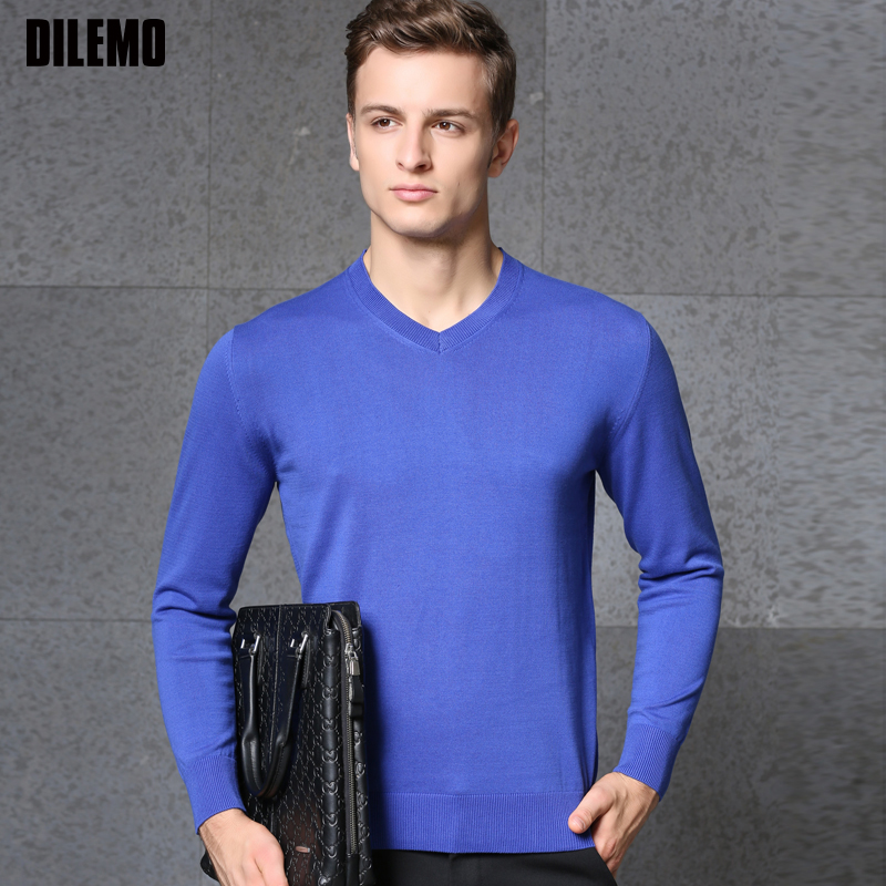2019 Fashion Brand Sweater Mens Pullovers Slim Fit Jumpers Knit V Neck Solid Color Autumn Korean Style Casual Men Clothes