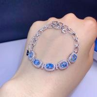 Fashion round T Letter Natural blue topaz Bracelet Natural gemstone Bracelet 925 silver bracelet girl party jewelry