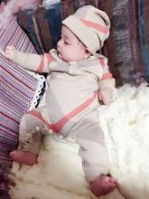 새로 태어난 아기 옷 긴 소매 겨울 가을 봄 세트 0 3 개월 Rompers 뜨개질 점프 슈트 격자 무늬 니트 코튼 의류 모자