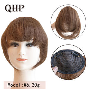 Human-Hair-Bangs Hairpiece Virgin Remy-Fringe Clip-In Natural 20g Straight