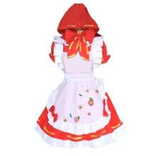 Vocaloid Womens Hatsune Miku Project Diva Little Red Riding Hood Cosplay Costume Lolita Apron Dress