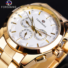 Forsining Mens Mechanical Business Watch Automatic Golden White 3 Sub Dial Date Display Steel Band Gentleman Relojes Para Hombre