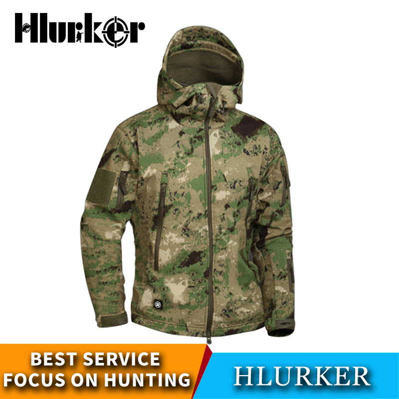 Autumn Hunting Ghillie Suits Military Camouflage Fleece Softshell Hiking Jacket Men Army Tactical Multi-Camo Male Windbreakers