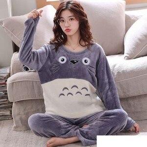 Image 4 - Çift pijama setleri kalın sıcak kış pazen pijama pijamalar erkekler ve kadınlar sonbahar konfor uzun kollu pijama takım gecelik
