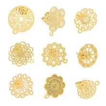 Boucles d'oreilles en acier inoxydable bohémien, motif de fleurs rétro, clous, composants de base avec aiguille, fabrication, bijoux à bricoler soi-même