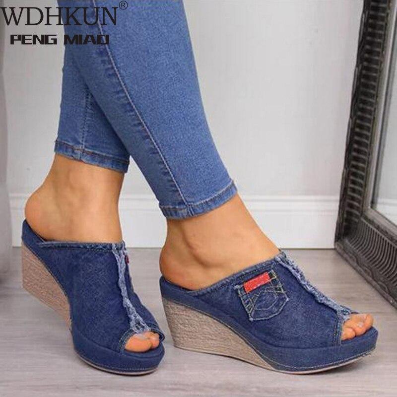 WDHKUN Lady Slope Sandals Women Platform Sandals New Summer Female Fish Mouth Platform High Heels Wedge Shoes
