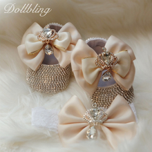 Dollbling Baroque Glam Girl First Walking Shoes Golden Crown Exotic Bohemia Unique Bling Gorgeous Rhinestone Infant Crib Shoes
