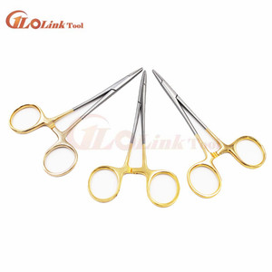 Image 1 - 12.5cm Golden color handle Needle clamp medical pliers Surgical forceps Double eyelid cosmetic plastic surgery Needle holder
