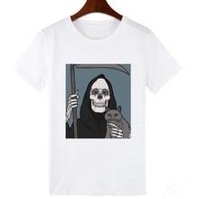Showtly Horro Skull and Cute Cat Femal Tshirt Cartoon Top Tees kawaii T Shirt Wo