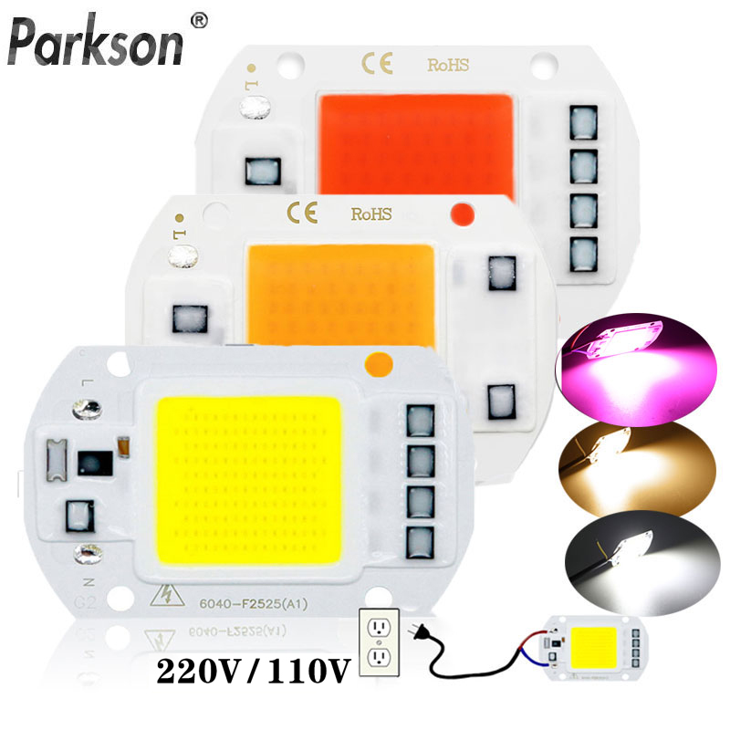 LED COB Chip Diode AC 220V 10W 20W 30W 50W Grow Plant Light Box Full Spectrum Smart IC No Need Driver DIY LED Beads Lamp