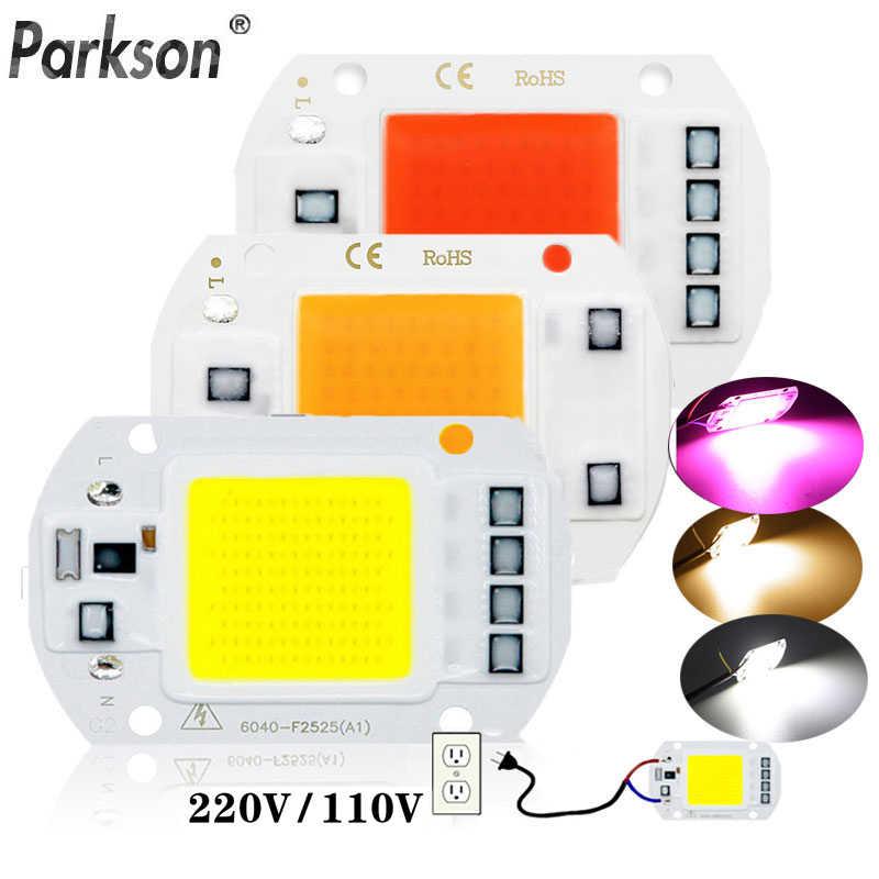 LED COB Chip diyot AC 220V 10W 20W 30W 50W bitki büyümek ışık kutusu tam spektrum akıllı IC gerek yok sürücü DIY LED boncuk lamba