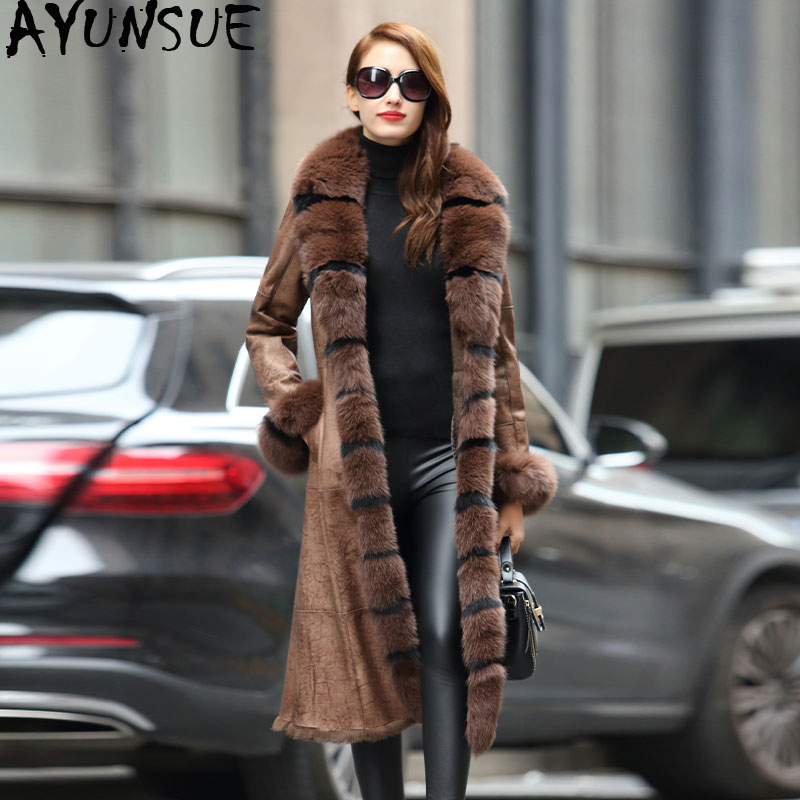 AYUNSUE Double Faced Real Fur Coat Female Luxury Rabbit Fur Coats Winter Coat Women Fox Fur Collar Real Leather Jacket MY4244
