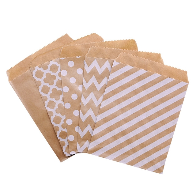 25PCS 18x13 ซม.กระดาษคราฟท์Biscuit Candyของขวัญกระเป๋าบรรจุวันเกิดตกแต่งขนมCandy BARถุงขนมขบเคี้ยวคุกกี้กระเป๋า