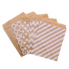 25Pcs 18x13cm Kraft Paper Biscuit Candy Bags Gift Packing Pouch Birthday Party Decoration Dessert Candy Bar Bag Snack Cookie Bag