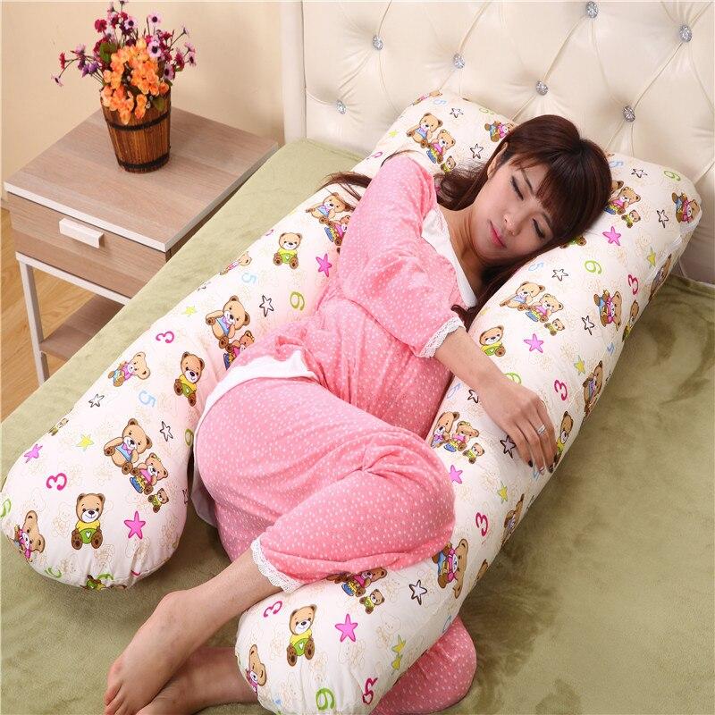 cute-bear-printed-u-style-cotton-pregnancy-pillow-cushion-waist-pillow-for-women-maternal-comfortable-side-sleepers-body-pillow
