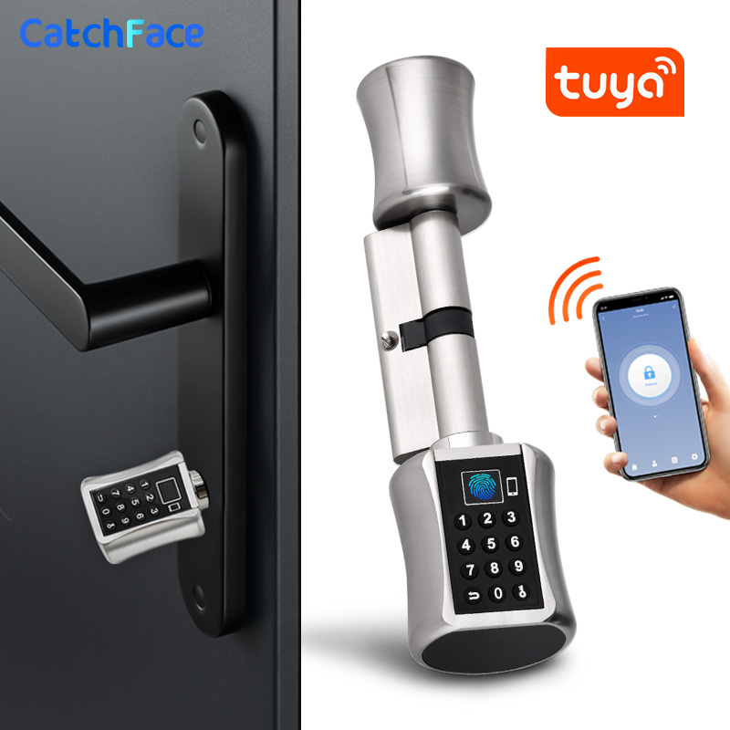 Bluetooth Fingerprint Cylinder Lock Tuya APP Biometric Electronic Smart  Door Lock Digital Keypad Code Keyless Lock Home Apartme