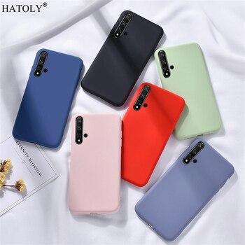 Перейти на Алиэкспресс и купить Для Huawei Nova 5T чехол для Nova 5 T 6 7 SE Pro 2 3 3i 4 мягкий жидкий силиконовый чехол-бампер для телефона сплошной цвет задняя крышка Nova 5T