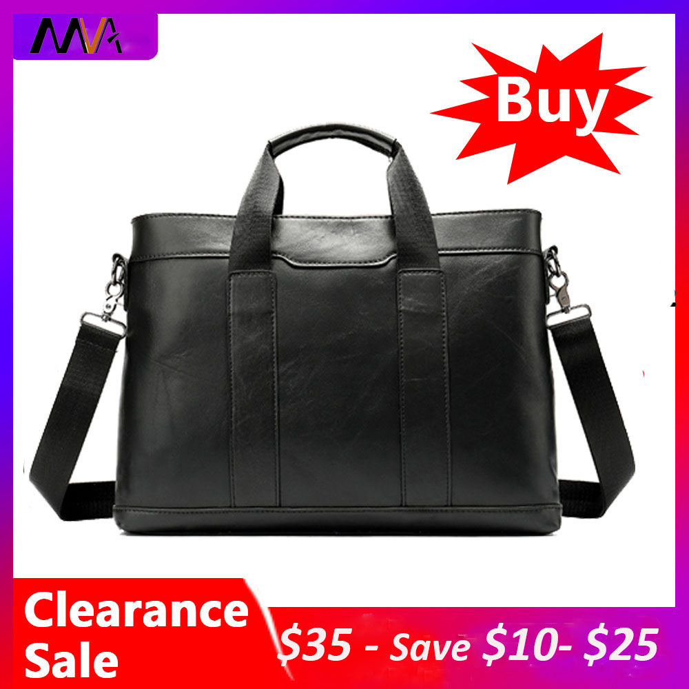 MVA Men's Briefcase Bag Men's Genuine Leather Black Laptop Bag Leather Briefcase Office Bags For Men Totes Business Bags 305