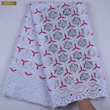 Afryki szwajcarski bawełniany woal z koronką 2019 szwajcarska koronka wysokiej jakości w szwajcarii afryki suche koronki tkaniny na sukienka na imprezę A1701