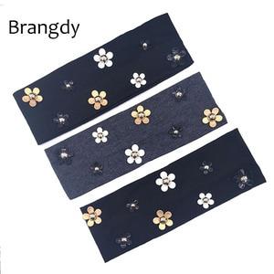 Bandeaux chaîne de tête en coton pour femmes   Bandeau Floral en coton noir, fin et extensible, accessoires de cheveux, été automne