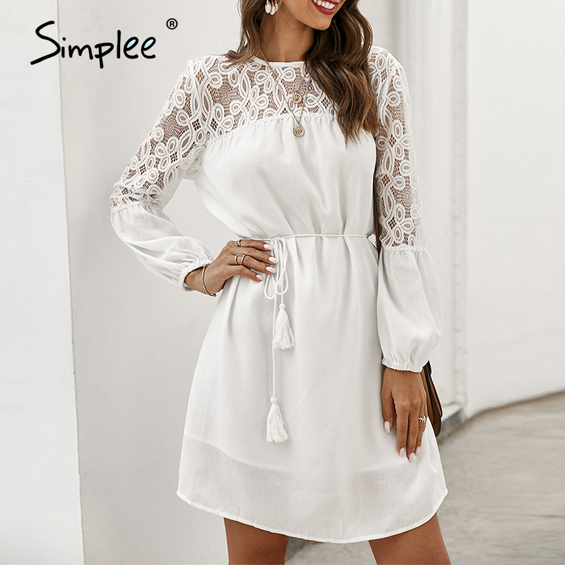 Simplee Sexy Hollow Out Party Dress Elegant Puff Sleeve O Neck Summer Lace Dress Long Sleeve A-line Casual Ladies Office Dress