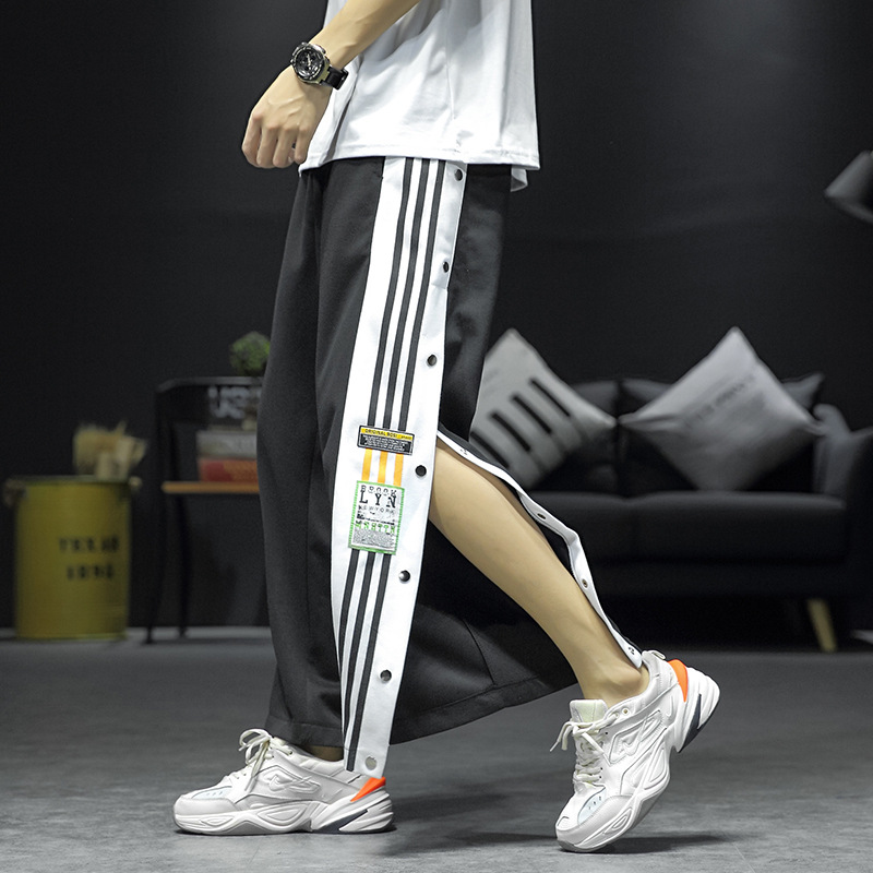 2020 Autumn New Men's Casual Pants Striped Trousers Loose-breasted Streetwear Hip Hop Sweatpants Loose Large Size Men Clothing