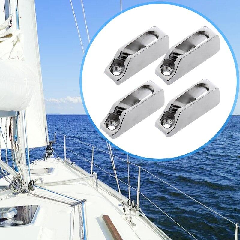 4 Uds. Aparejo de navegación 316 Acero inoxidable almeja 3-6mm cuerda y abrazadera de línea para barco yate Marina Etc. Accesorios para barcos marinos