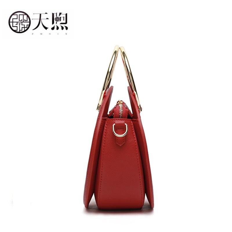 Pmsix mulheres saco de couro genuíno moda redonda saco bordado real bolsas bolsas de luxo sacos de designer famosa marca wome - 5