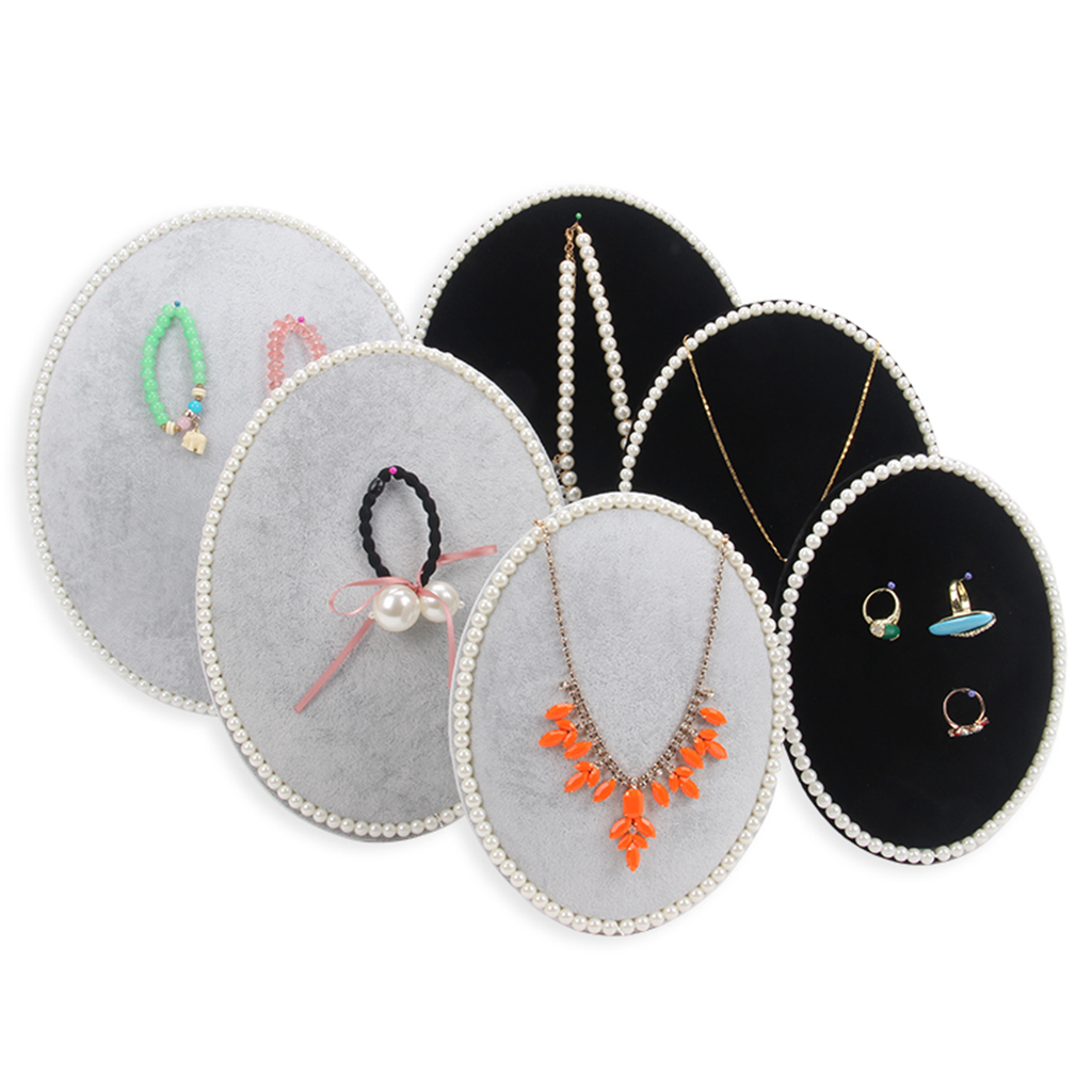 Necklace Soft Lint Collection Tray Shelf Showcase Retro Storage Shop Counter