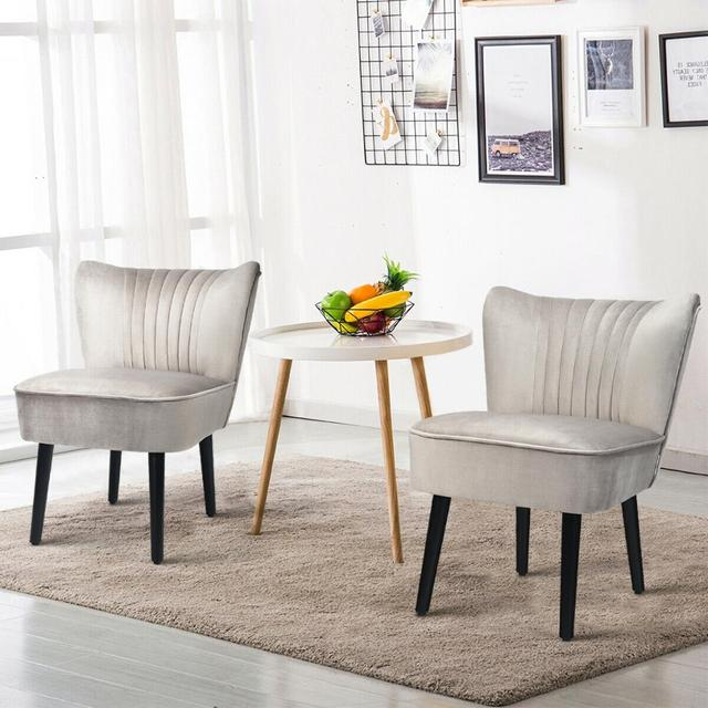 Set of 2 Armless Accent Leisure Chairs  4