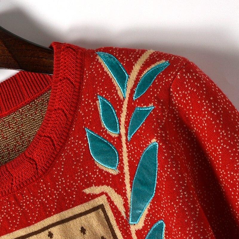 Europa Star estilo tejido suéter mujer Jacquard tejido perro hoja bordado punto cuello redondo Jersey manga larga Otoño Invierno - 4