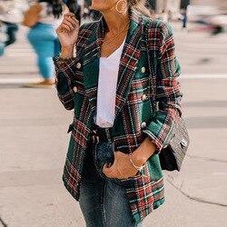 Модный клетчатый блейзер с длинным рукавом Feminino 2019 осень зима офисный женский пиджак на пуговицах твидовый Блейзер Mujer повседневное пальто ...