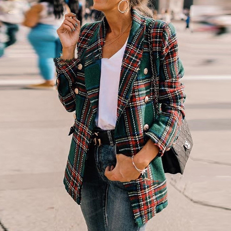 Fashion Long Sleeve Plaid Blazer Feminino 2019 Autumn Winter Buttons Office Women Jacket Tweed Blazer Mujer Casual Coat Blazers