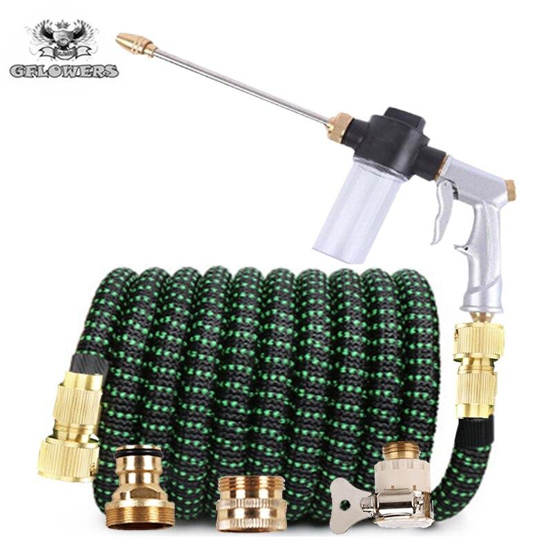 Wąż chowany przedłużyć wąż ogrodowy pistolet naturalny lateks wysokociśnieniowy myjnia samochodowa kurczy się flexibele Tuinslang nawadnianie