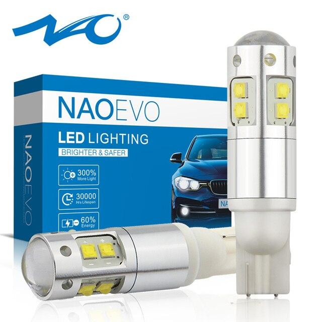 NAO W5W LED T10 5W5 3 واط 1000LM السوبر مشرق سيارة مصباح سيارة جانبي LED مصباح للسيارات 12 فولت 6000 كيلو جودة عالية 194 الأبيض العنبر 168 Blub