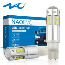 NAO W5W LED T10 5W5 3W 1000LM Super Bright Car Clearance Light LED Lamp for Auto 12V 6000K High Quality 194 White Amber 168 Blub