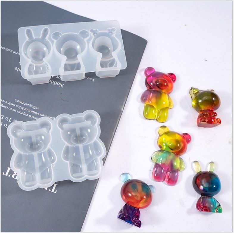 Bamala cola epoxy urso resina molde 3d molde de silicone forma urso resina molde para diy artesanato decorações, casa ornamentos