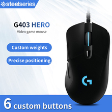 Gaming-Mouse Logitech G403-Hero Gamer Backlight 16000 Dpi Wired for PUBG PC Support Windows