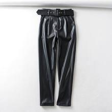 Осень 2020 женские кожаные брюки с флисовой подкладкой из искусственной