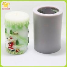High quality handmade Christmas Christmas candles Cylindrical silicone mold  mold icicle Santa Claus Christmas tree candle цена 2017